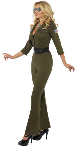 Sexy Top Gun Pilot Jumpsuit Costume