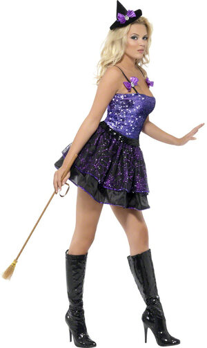 Sexy Purple Sequin Glimmer Witch Costume