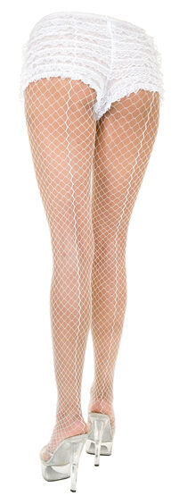 Plus Size White Backseam Net Pantyhose