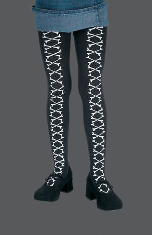 Kids Gothic Bone Laced Black Pantyhose