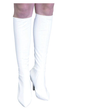 White Knee High Leather Boot Covers