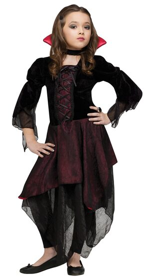 Kids Lady Dracula Girl Vampire Costume