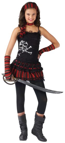 Girls Skull Rocker Kids Pirate Costume