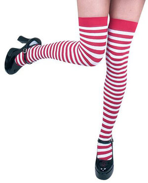 Red and White Striped Thigh High Stocking