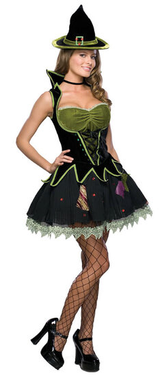 Womens Grand Heritage Green Diva Witch Costume
