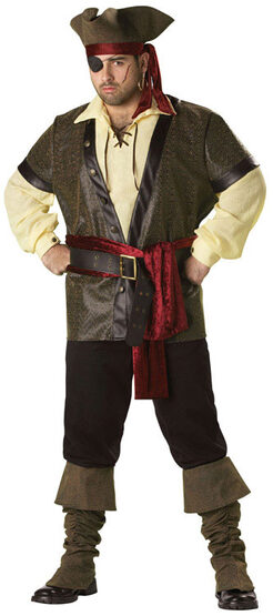 Mens Rustic Pirate Plus Size Costume
