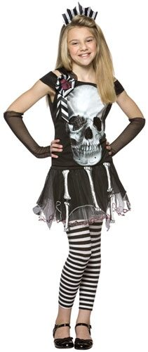 Glam Skull Face Gothic Kids Costume
