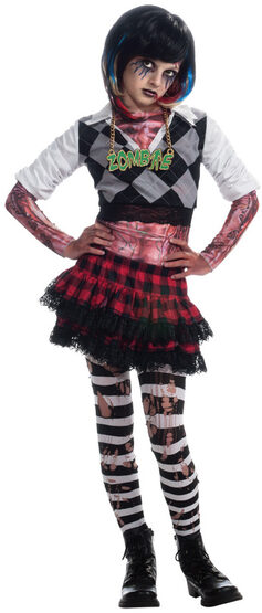 Zombie Punk Rock Chick Kids Costume