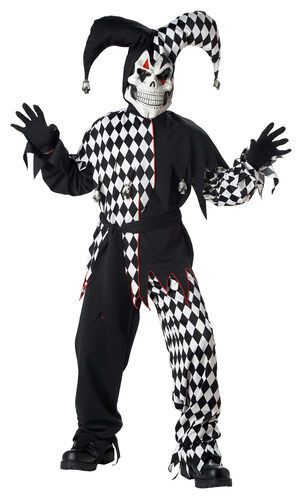 Scary Evil Jester Kids Costume