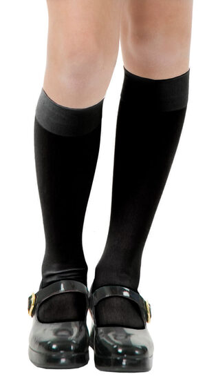 Black Opaque Knee High Stocking