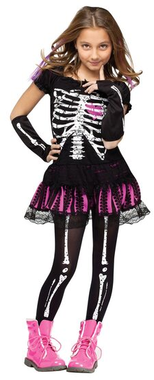 Sally Skelly Skeleton Kids Costume
