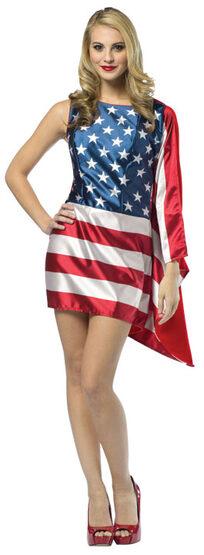 Patriotic USA Flag Dress Adult Costume