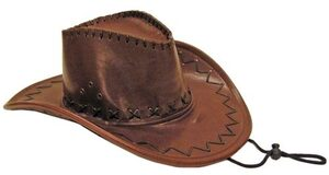 Adult Saddle Stitch Brown Cowboy Hat
