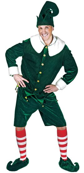Holly Jolly Elf for Santa Adult Costume