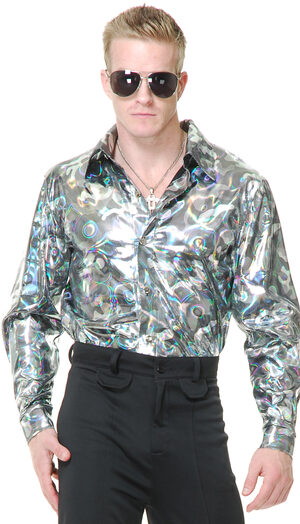 Silver Circle Disco Shirt Adult Costume