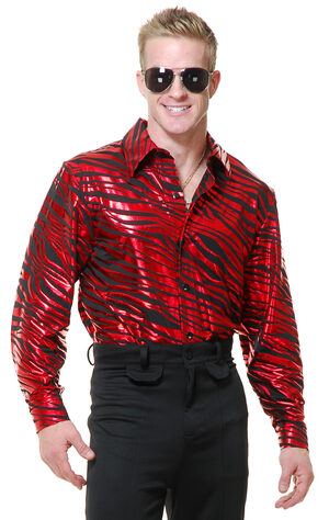 Zebra Disco Shirt Adult Costume