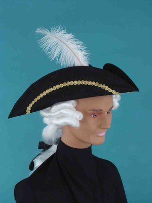 Feathered Colonial Historic Hat with Wig
