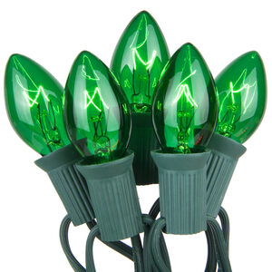 25 C7 Transparent Green Halloween Lights