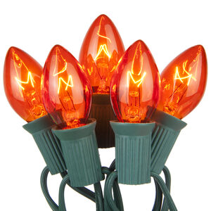 25 C7 Transparent Amber Halloween Lights