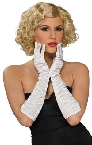 White Stretch Elbow Length Flapper Gloves