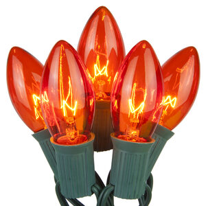 25 C9 Transparent Amber Halloween Lights