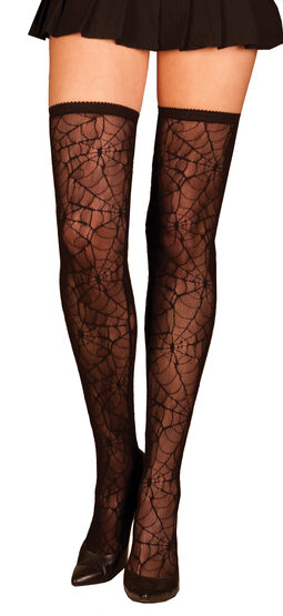 Black Spider Web Thigh High Stocking