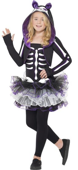 Girls Skelly Cat Kids Costume