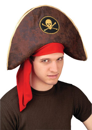 Mens Brown Buccaneer Pirate Captain Hat