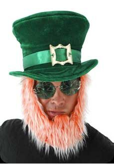 St Patricks Day Irish Leprechaun Hat with Beard