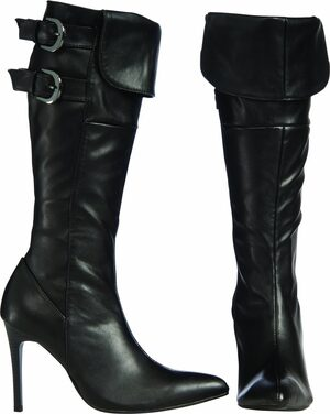 Womens Sexy Black Buckle Boots