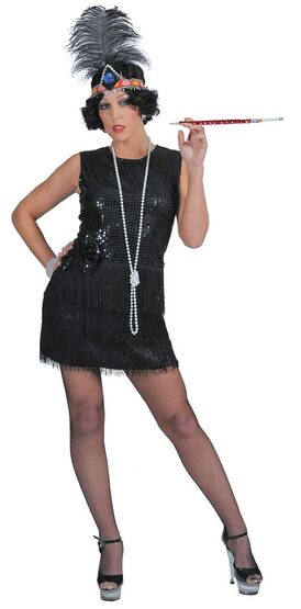 Womens Sexy Black Sequin Flapper Dress Costume