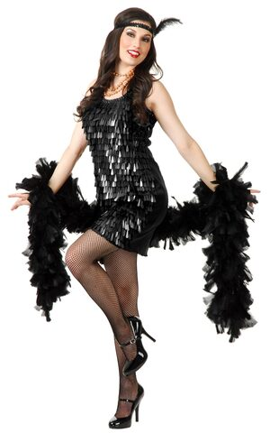 Sexy Black Teardrop Flapper Girl Costume