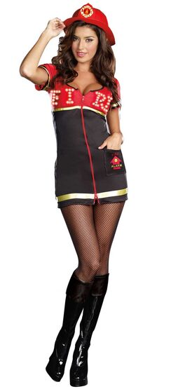 Sexy Light Up Burn Baby Burn Firefighter Costume