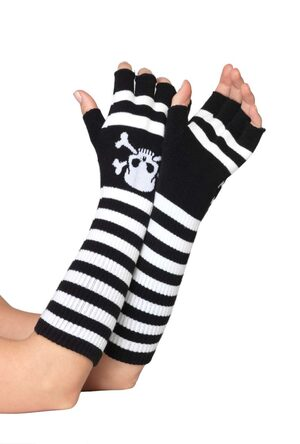 Black and White Striped Fingerless Gloves with Skull Print