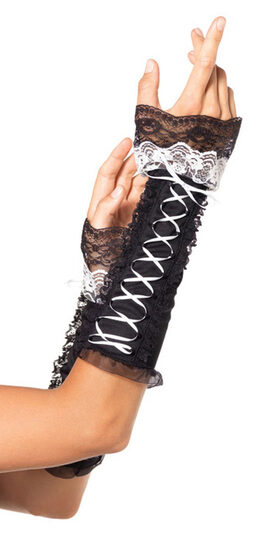 Lace Up Arm Warmer with Ruffle Trim
