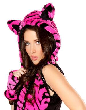 Plush Tiger Print Hood