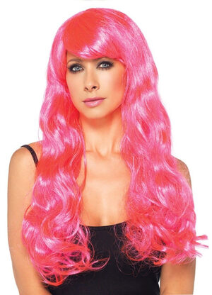 Starbright Neon Pink Long Wavy Wig