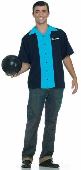 Mens King Pin Bowling Shirt Adult 50s Costume