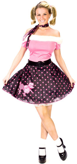 Womens Adult Pink 50s Costume Poodle Dress