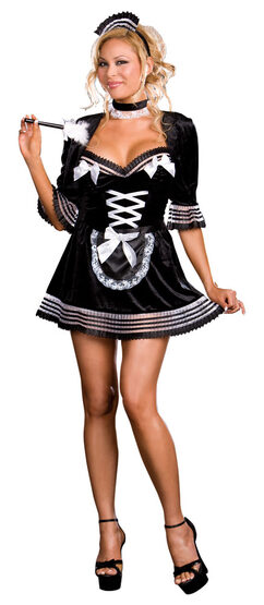 Black Velvet Sexy Plus Size French Maid Costume