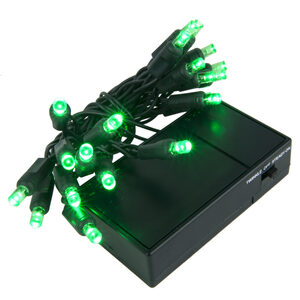 20 Green Battery Powered 5mm LED Lights, Green Wire