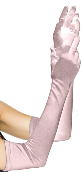 Extra Long Pink Satin Gloves
