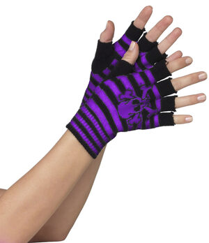 Black and Purple Striped Skull and Crossbone Fingerless Gloves