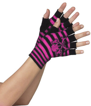 Black and Pink Striped Skull and Crossbone Fingerless Gloves