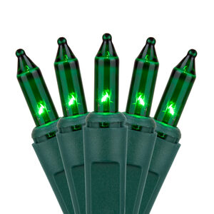 "35 Green Mini Halloween Lights, 4"" Spacing, Green Wire"