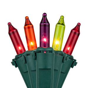 "50 Premium Purple, Red, Amber, Chartreuse Mini Halloween Lights, 6"" Spacing, Green Wire"