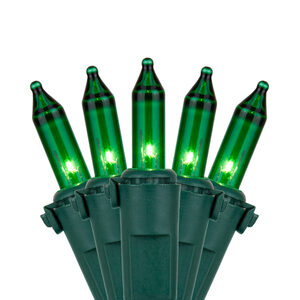 "100 Premium Green Mini Halloween Lights, 6"" Spacing, Green Wire"