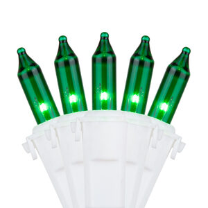 "50 Premium Green Mini Halloween Lights, 4"" Spacing, White Wire"
