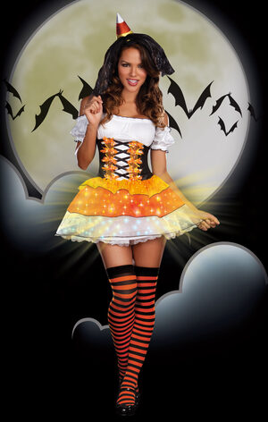 Sexy Candy Corn Cutie Light Up Witch Costume