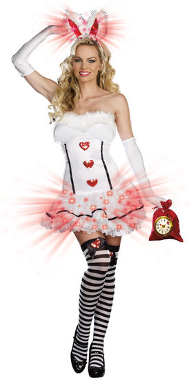 Sexy White Light Up Bunny Costume
